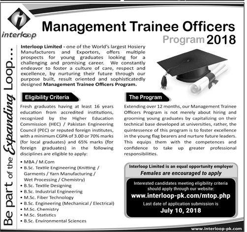 Interloop Pakistan Job Management Trainee Officers Program 2018 Form