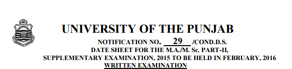 PU MA, MSc Part 1, 2 Supplementary Exams Date Sheet 2015