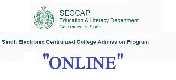 Sindh E-centralized College Admission Program SECCAP 2017-18 Form