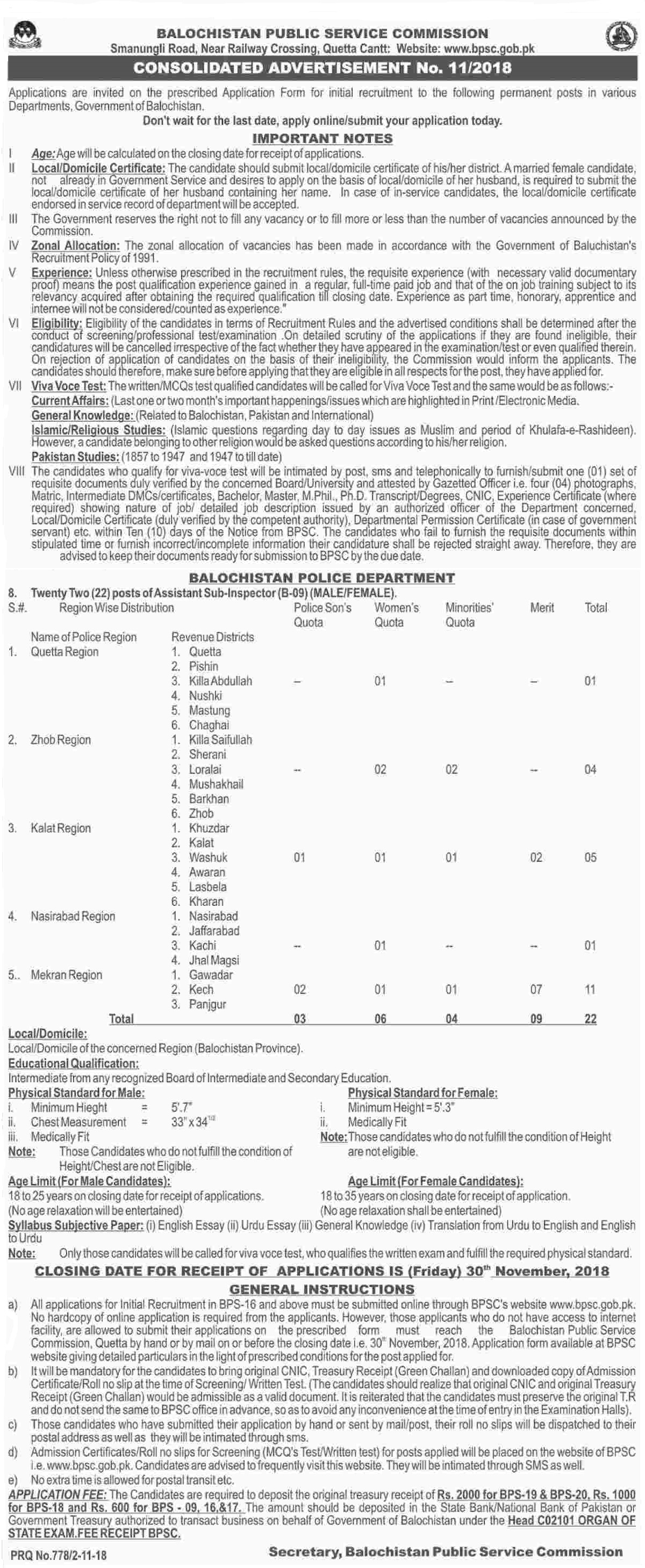 BPSC Balochistan Police Assistant Sub Inspector ASI Jobs