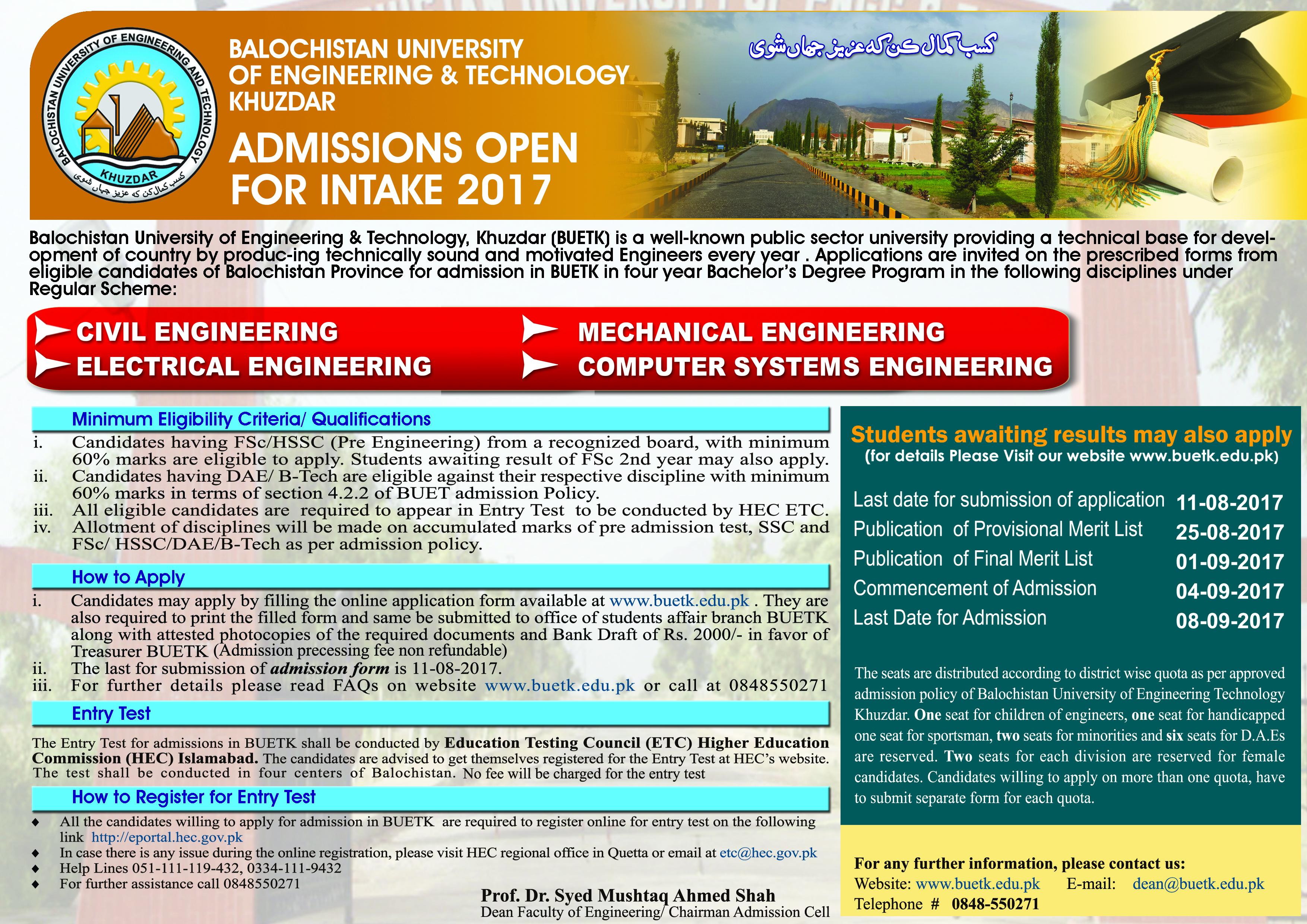 Balochistan University of Engineering BUET Khuzdar Admissions 2017