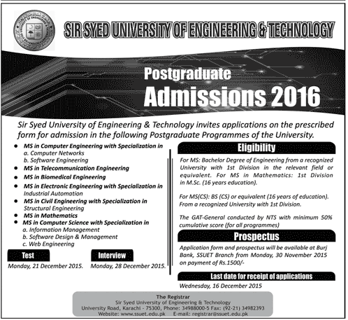 SSUET Karachi Admission 2016 Form Test Date