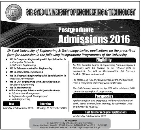 SSUET Karachi Admission 2016 Form Test Date
