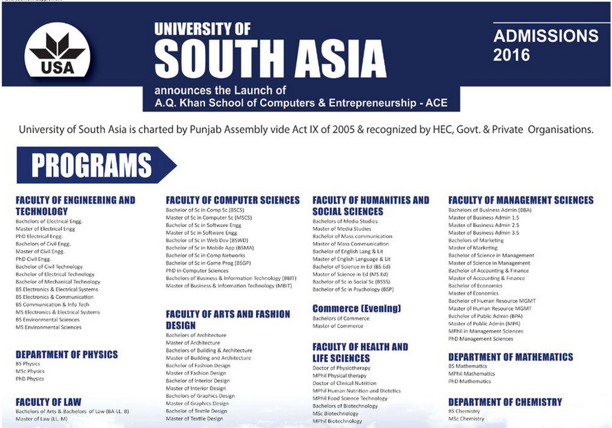 University of South Asia Admissions 2016