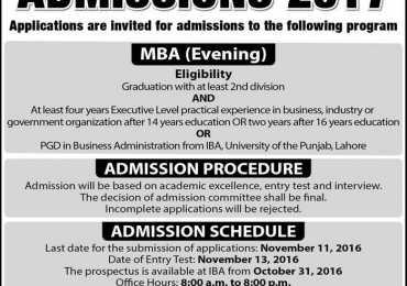 IBA Punjab University Lahore Admission 2017 MBA Evening Admission Form