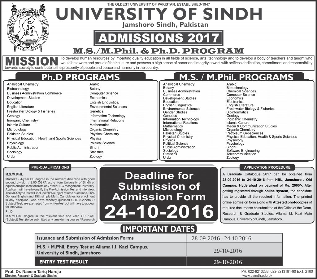 university of sindh ms  mphil  phd admission 2017 test result  merit list