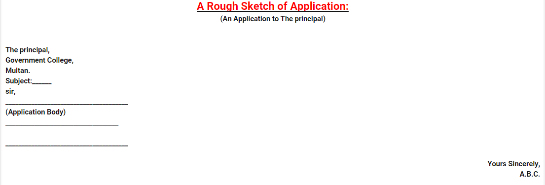 latest format of application writing