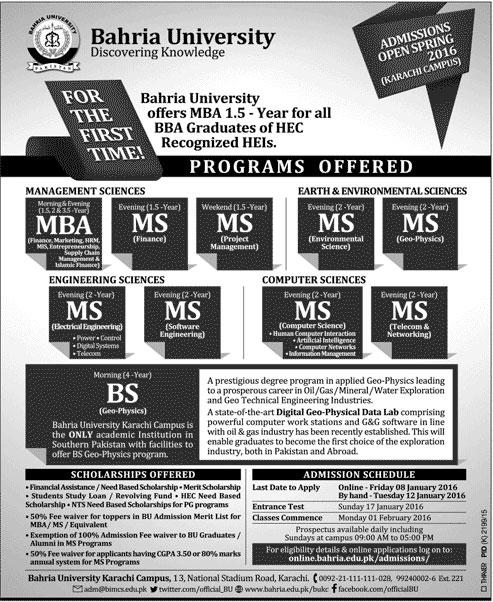 Bahria University Karachi Admissions Spring 2016