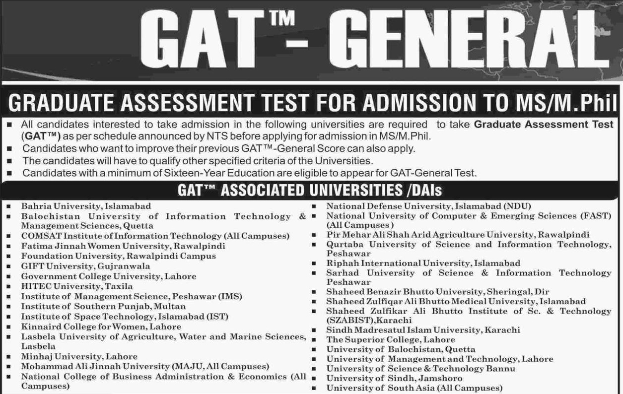 GAT General Test Dates 2017 And Schedule In Pakistan