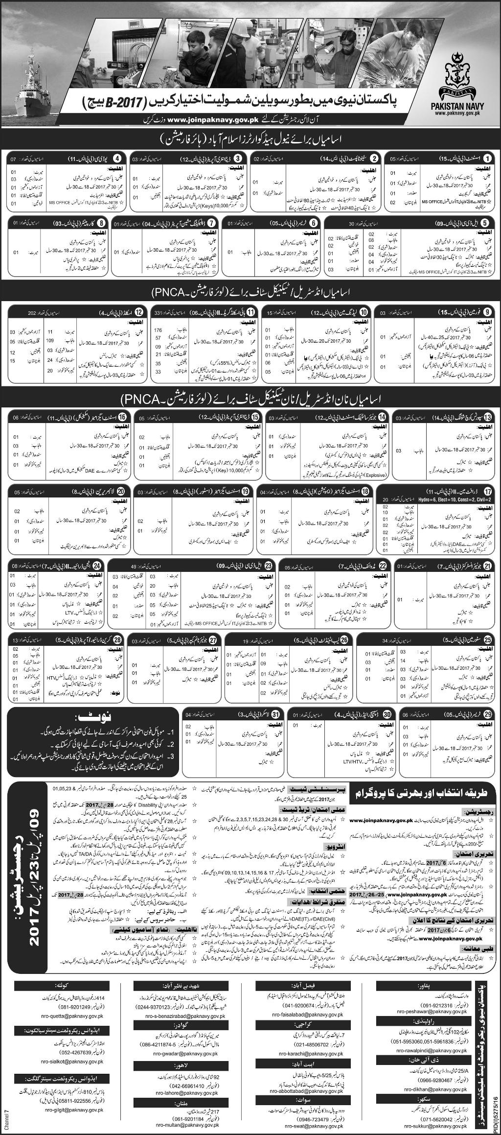 Join Pakistan Navy As Civilian Staff 2017 Jobs Online Registration Form Date