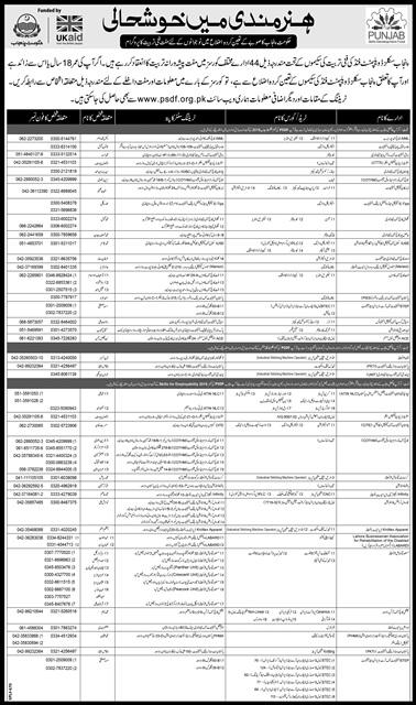 PSDF Free Courses 2017 Lahore, Gujranwala, Sargodha Institutes List