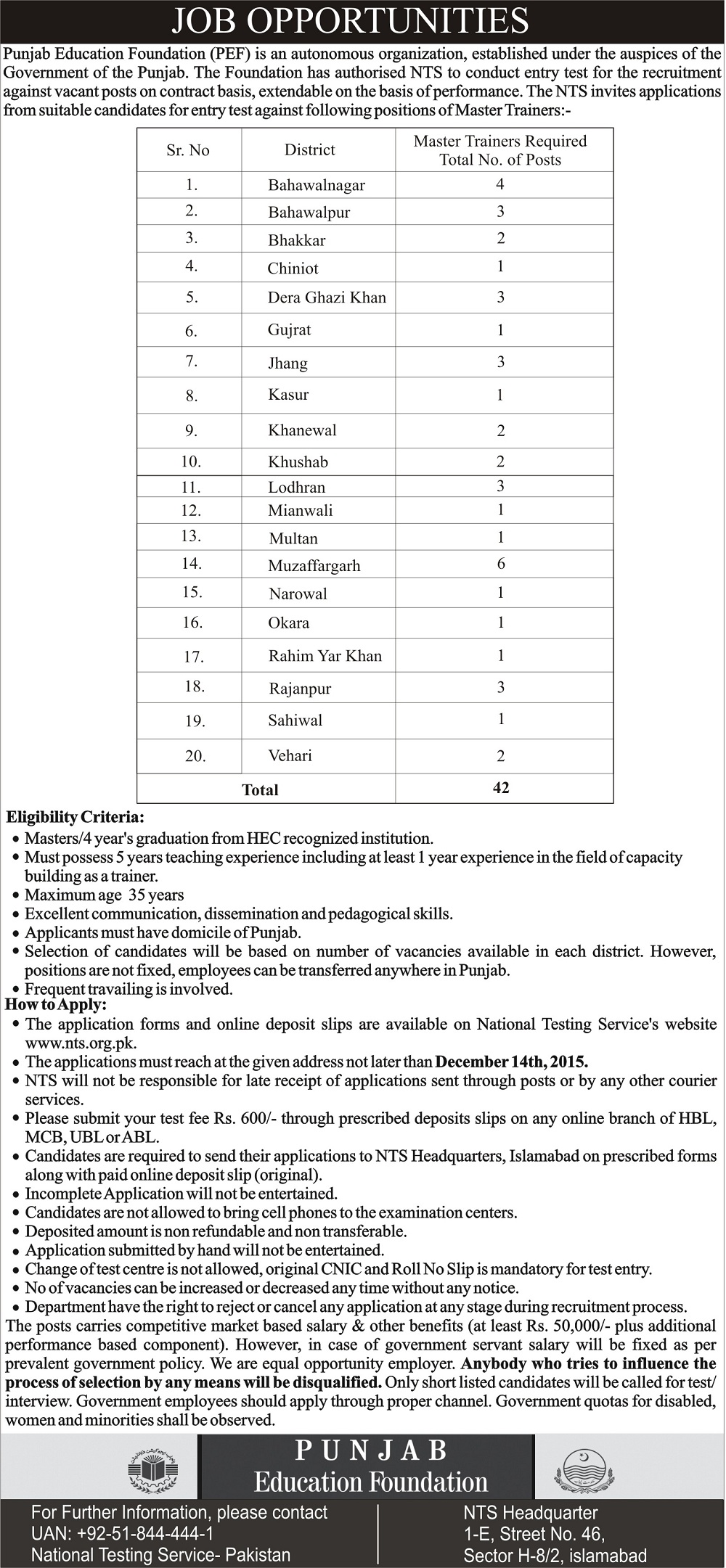 Punjab Education Foundation PEF Master Trainers Jobs 2015 NTS Application Form