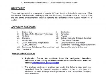 Student Loan Scheme 2016 In Pakistan National Bank Application Form Download