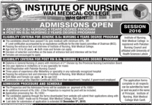 Wah Cantt Medical College BSc Nursing Admissions 2016 Download Form Eligibility