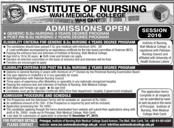 Wah Cantt Medical College Bsc Nursing Admissions 2017
