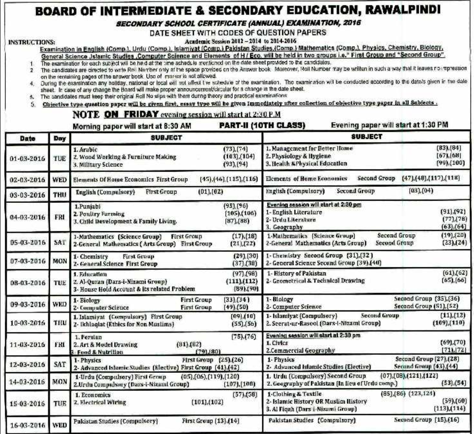 BISE Rawalpindi Board Matric 10th Class Date Sheet 2016