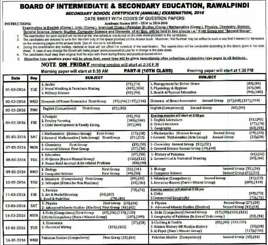 BISE Rawalpindi Board Matric 10th Class Date Sheet 2016