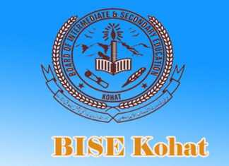 BISE Kohat Board KPK SSC 9th, 10th Class Model Papers 2018 Download PDF