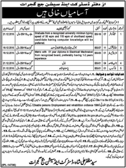 District And Session Court Gujrat Jobs 2015 Download Application Form Date