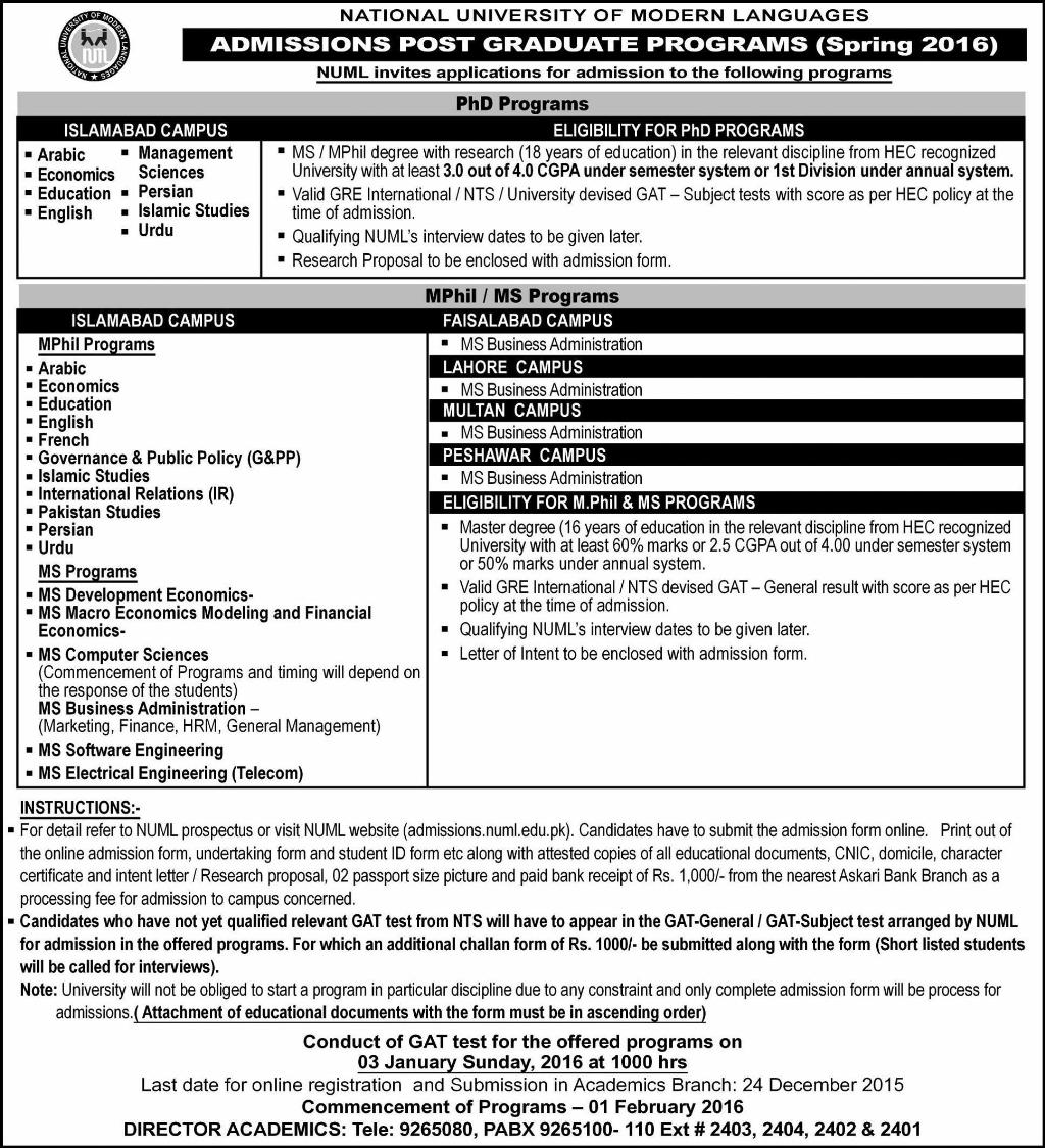 numl ms mphil phd admissions spring 2017 postgraduate form download