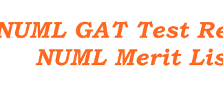 NUML University Postgraduate GAT Entry Test Result 2016 Merit List