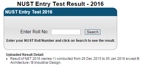 NUST Entry Test Result And Merit List 2016