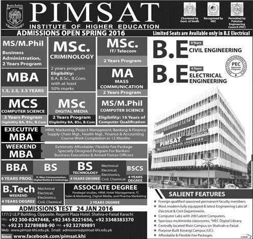 PIMSAT Institute of Higher Education Admissions Spring Semester 2016