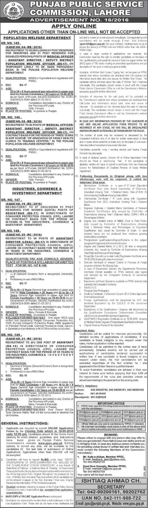 PPSC Population Welfare Department Job 2016 Medical Officer, Director Apply Online
