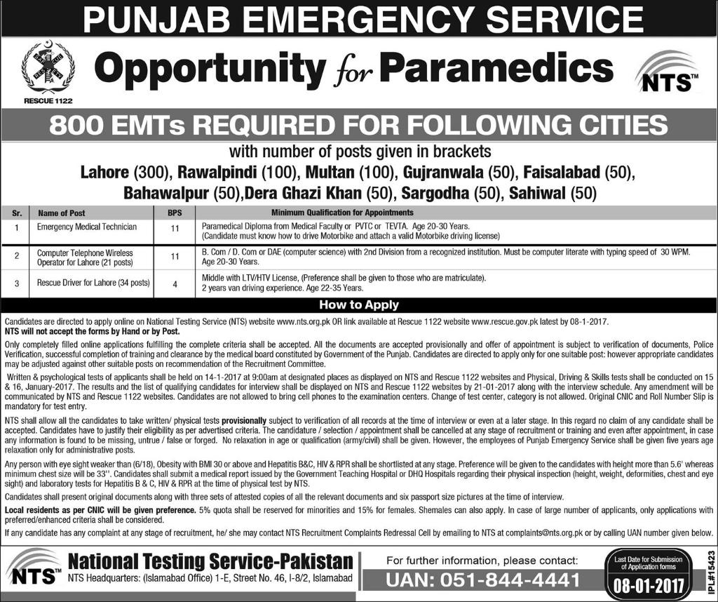 Punjab Rescue 1122 Jobs 2016-2017 Test Form, Date Sample Paper