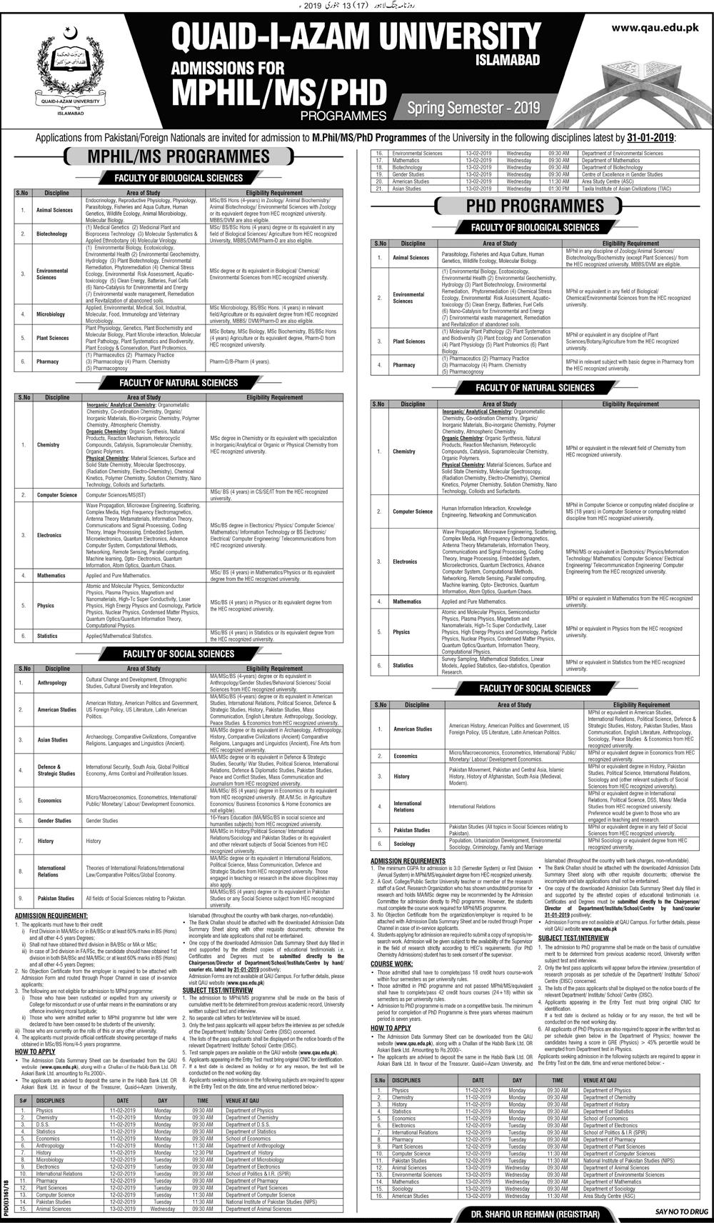 Quaid i Azam University Islamabad M.Phil, MS, PhD Admissions 2019 Form
