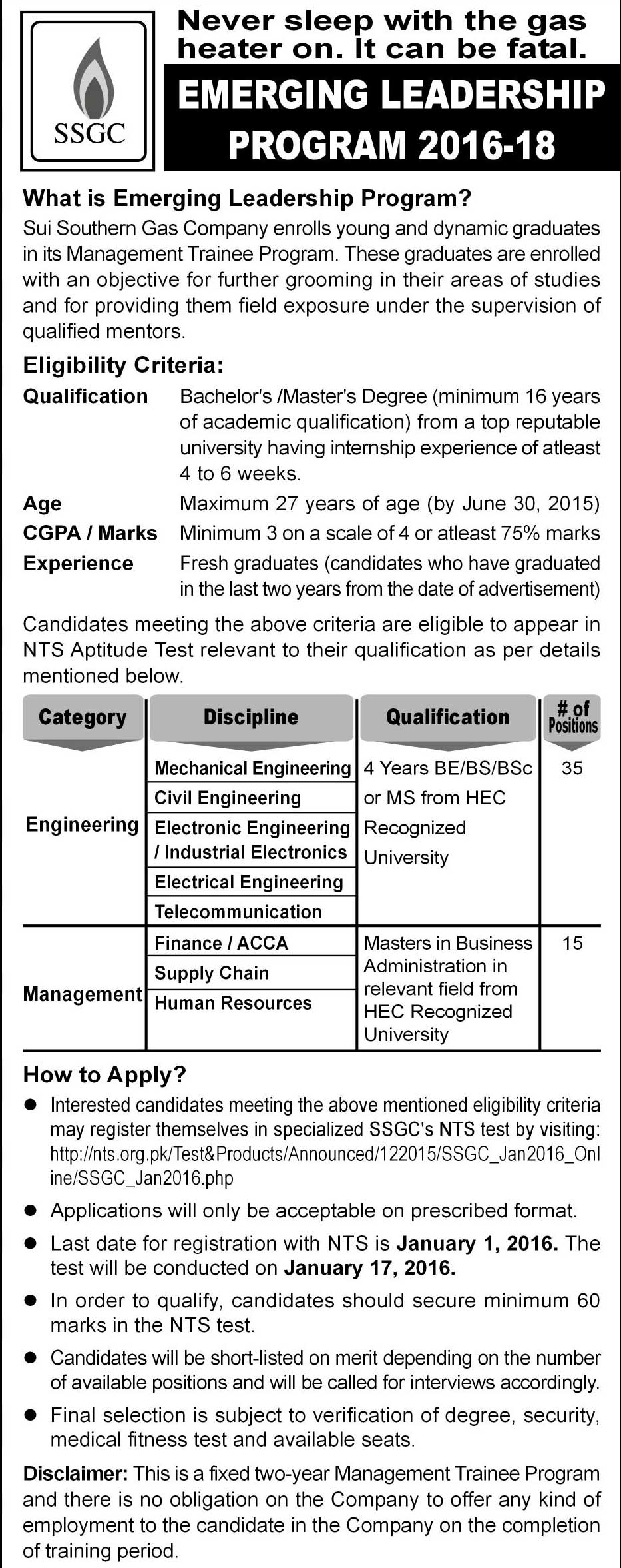 Sui Southern Gas Company SSGC Emerging Leadership Program 2016-18 NTS Form Eligibility