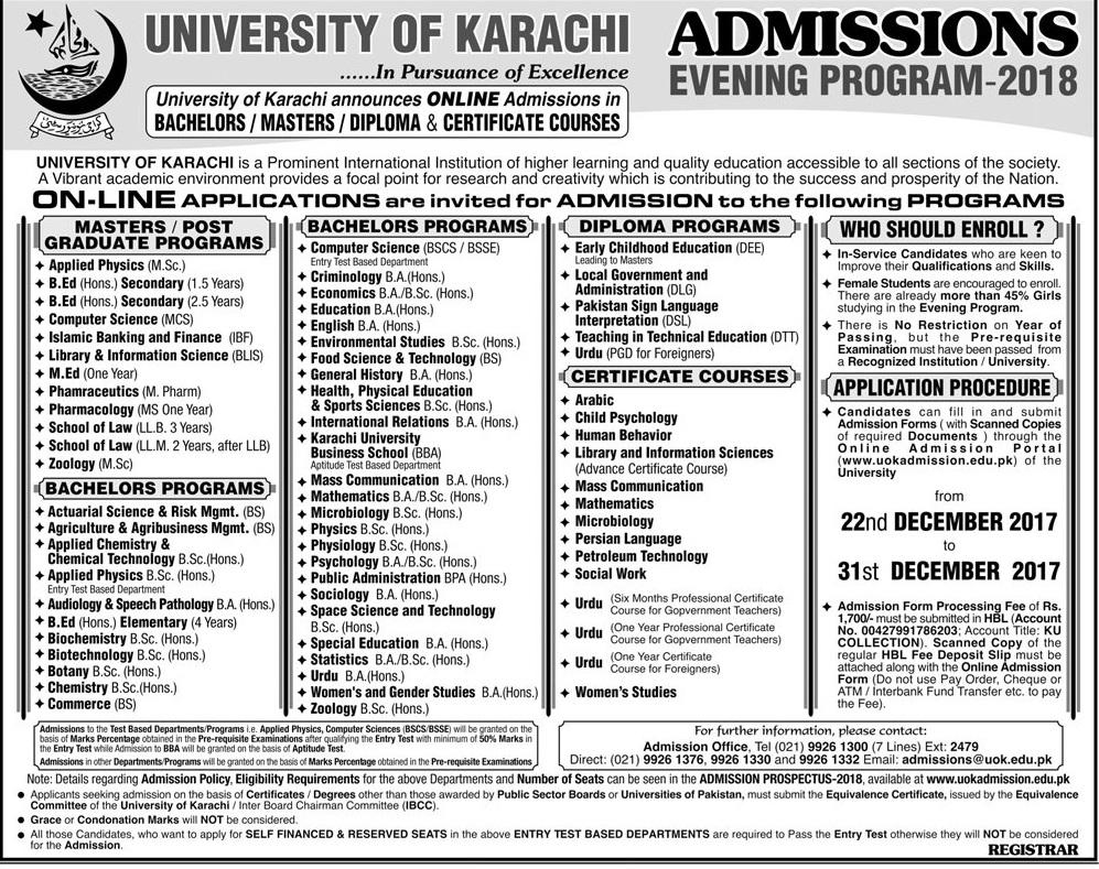 University Of Karachi UOK Evening Program Admission 2018
