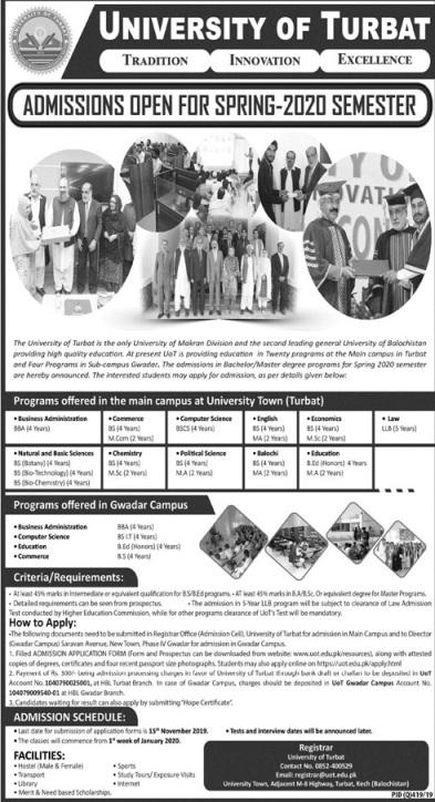 University of Turbat Balochistan Admission 2020