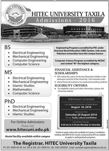 HITEC University Taxila Admission 2016 Form, Date, Eligibility
