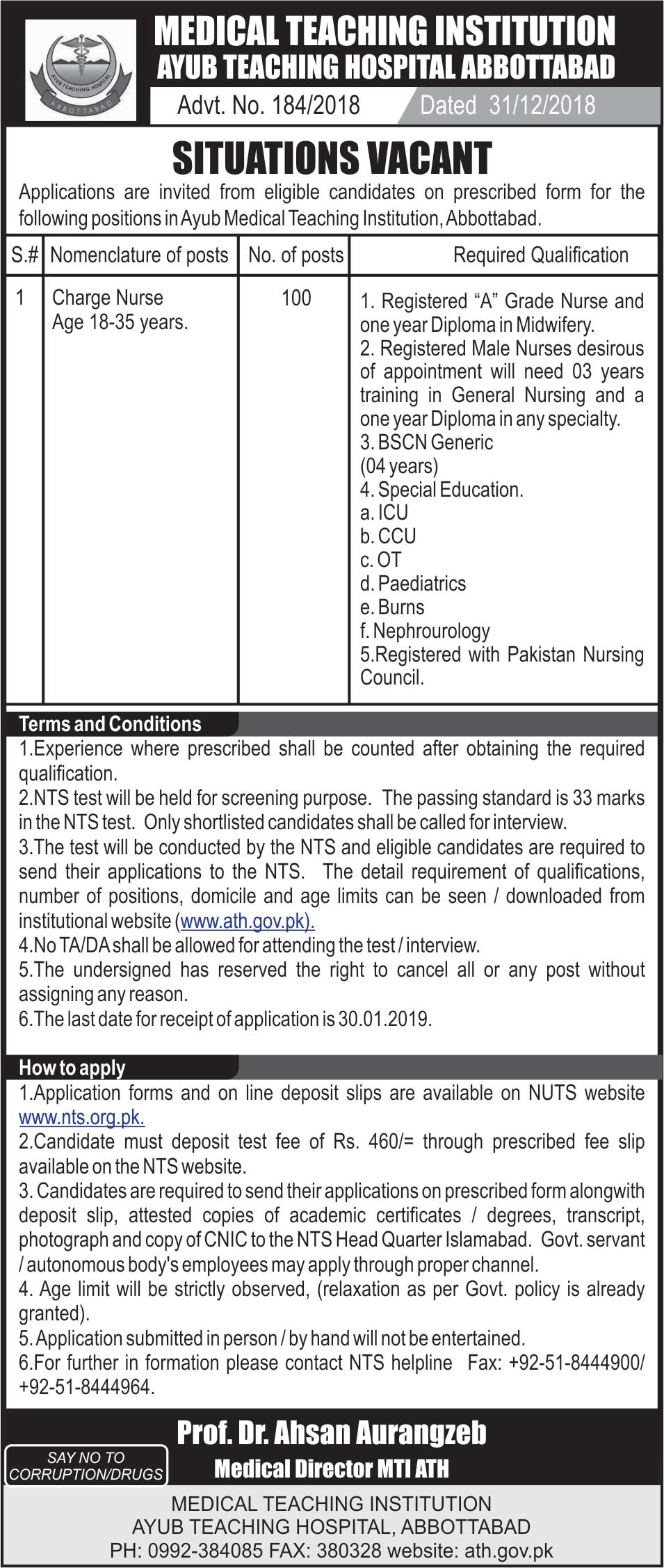 National Testing Service Nts Jobs January 2019 Application