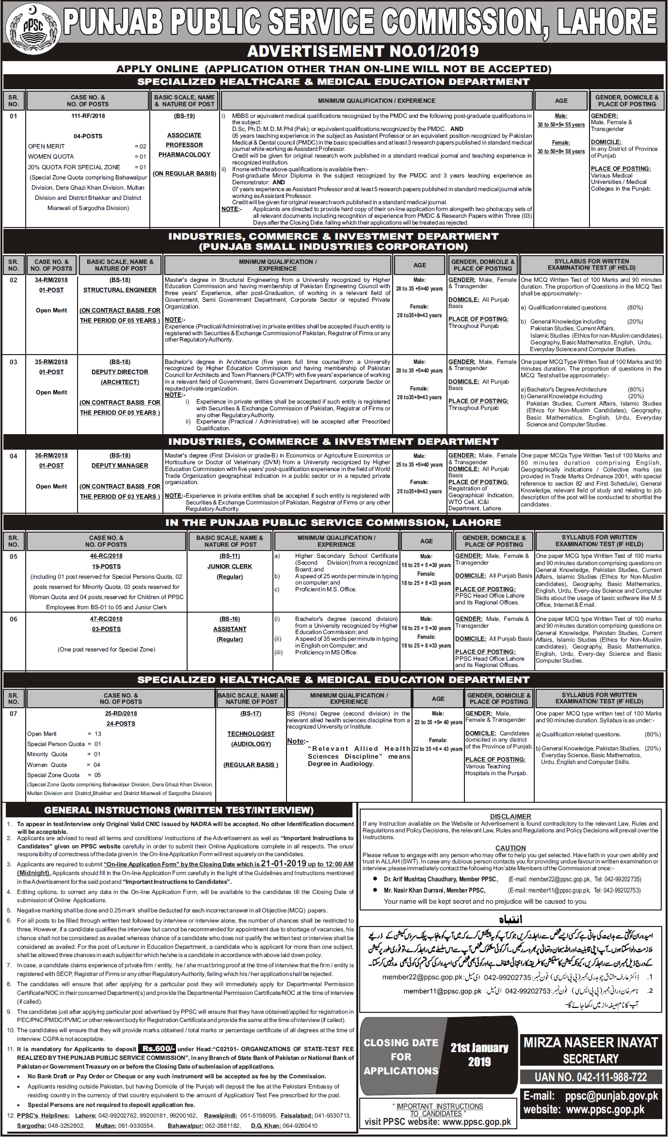 Punjab Public Service Commission PPSC January Jobs 2019 Advertisement