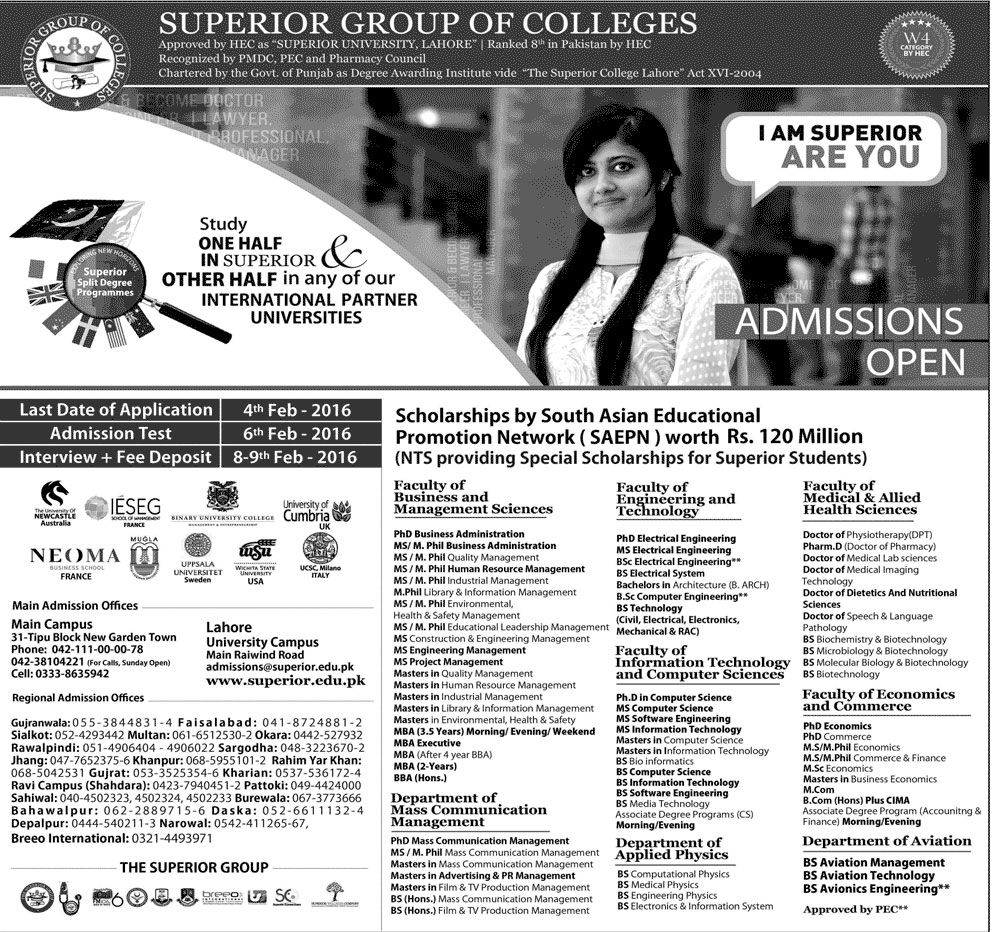 Superior Group Of College Lahore Admission 2016