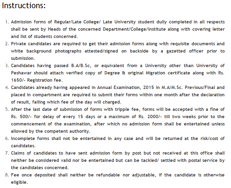 UOP University Examination Admission Form 2018 Fee Schedule