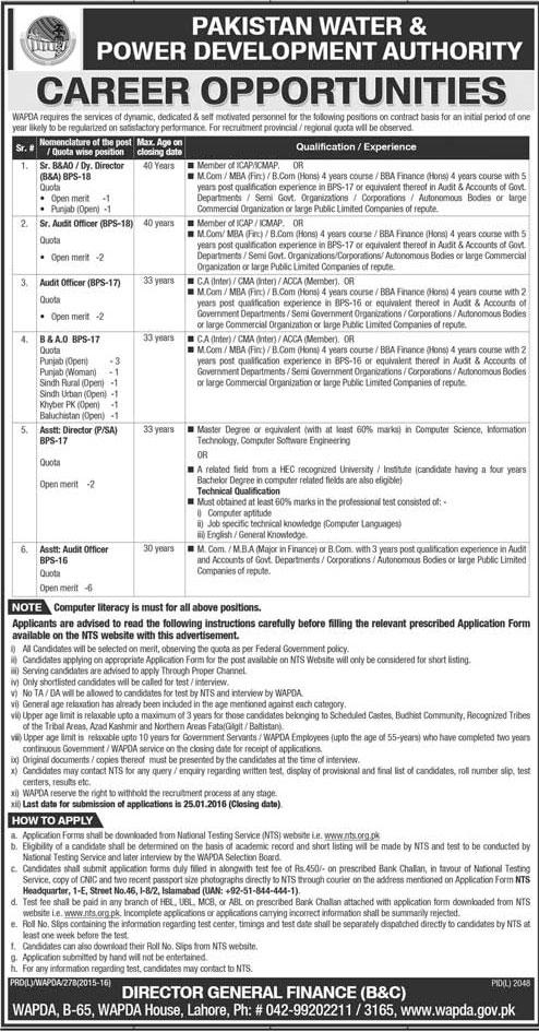 WAPDA Finance Division Jobs 2016 NTS Application Form Date