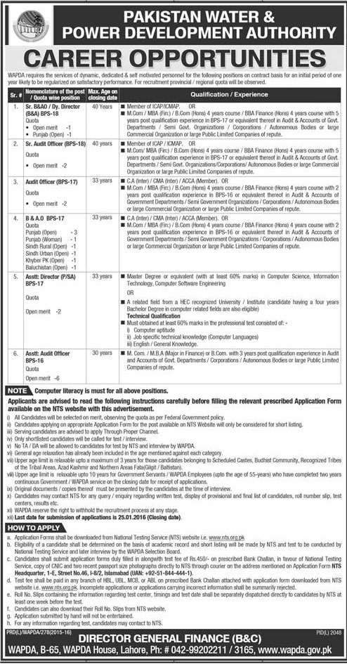 WAPDA Finance Division Jobs 2016 NTS Application Form Date