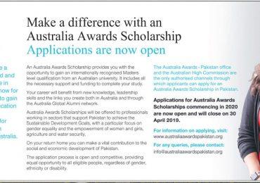 Australia Award Scholarship Pakistan 2019 Application Form, Registration Date