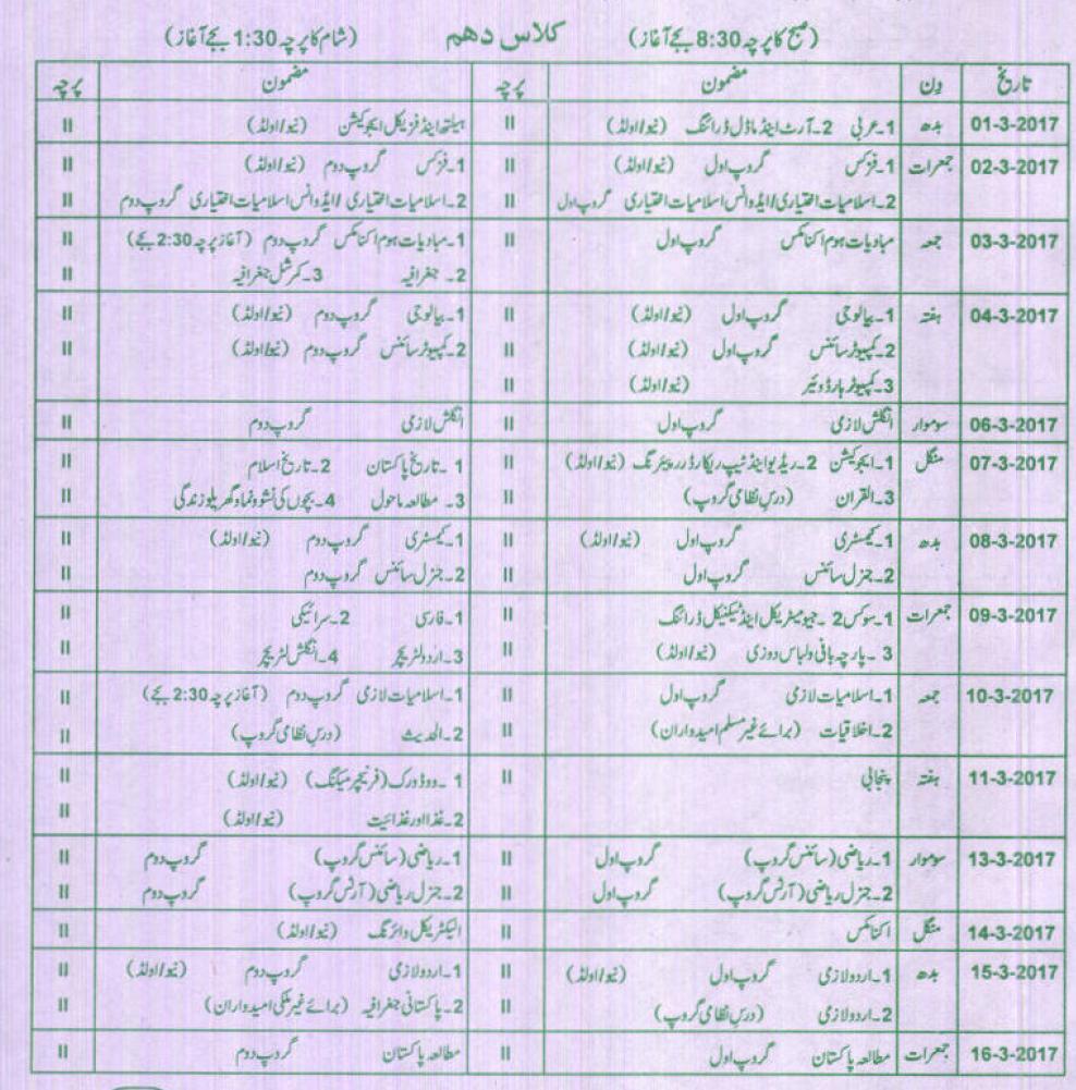 BISE Bahawalpur Board Matric 10th Class Date Sheet 2017