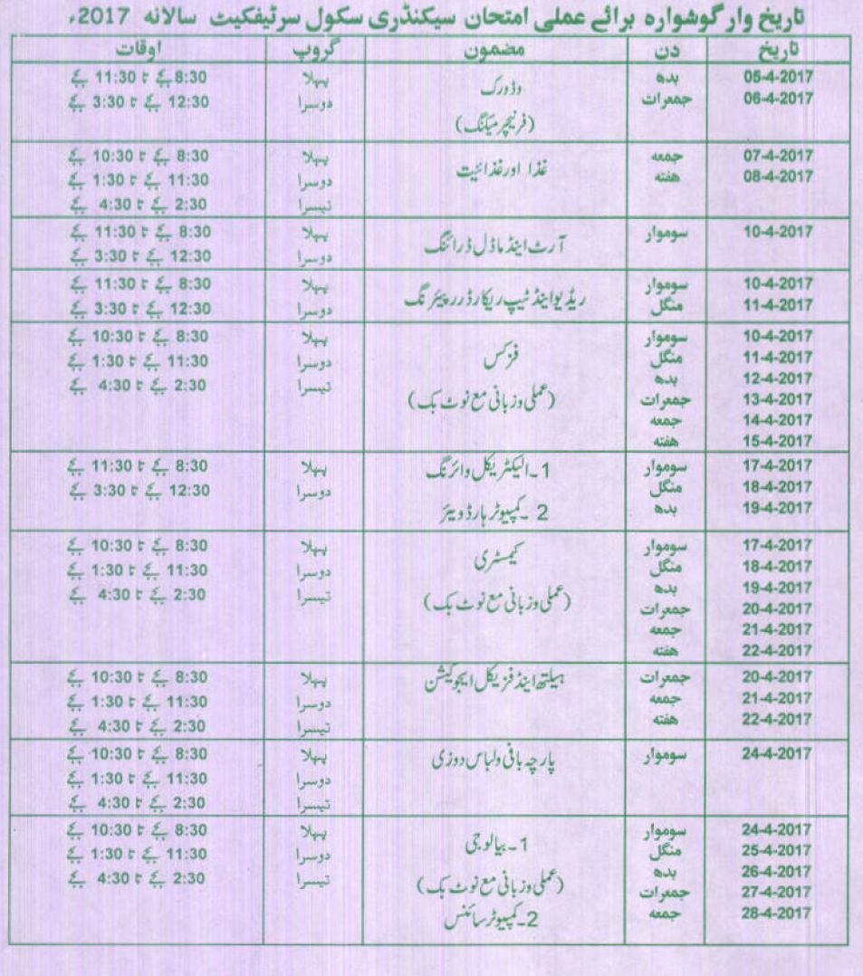 BISE Bahawalpur Board Matric 10th Class Practical Date Sheet 2017