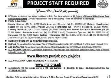 Education Literacy Department Punjab Jobs 2016 NTS Application Form Date