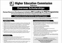 HEC Overseas Scholarships 2016 Advertisement Application Form, Last Date