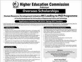 HEC Overseas Scholarships 2016 Advertisement Application Form, Last Date