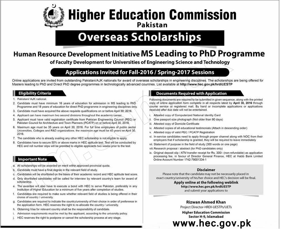 HEC Overseas Scholarships 2018 Advertisement Application Form, Last Date
