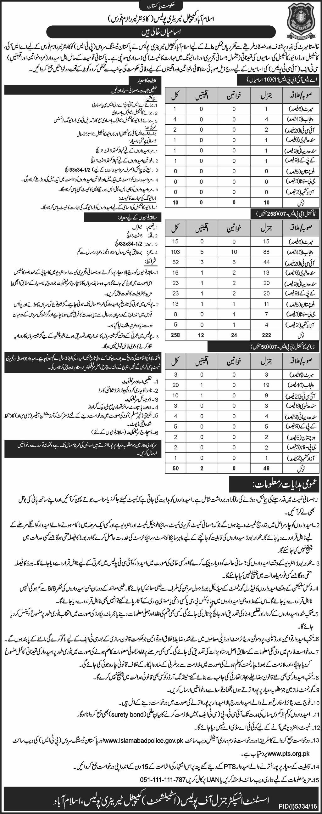 Islamabad Police ASI, Constable, Driver Jobs 2017 PTS Eligibility Last Date