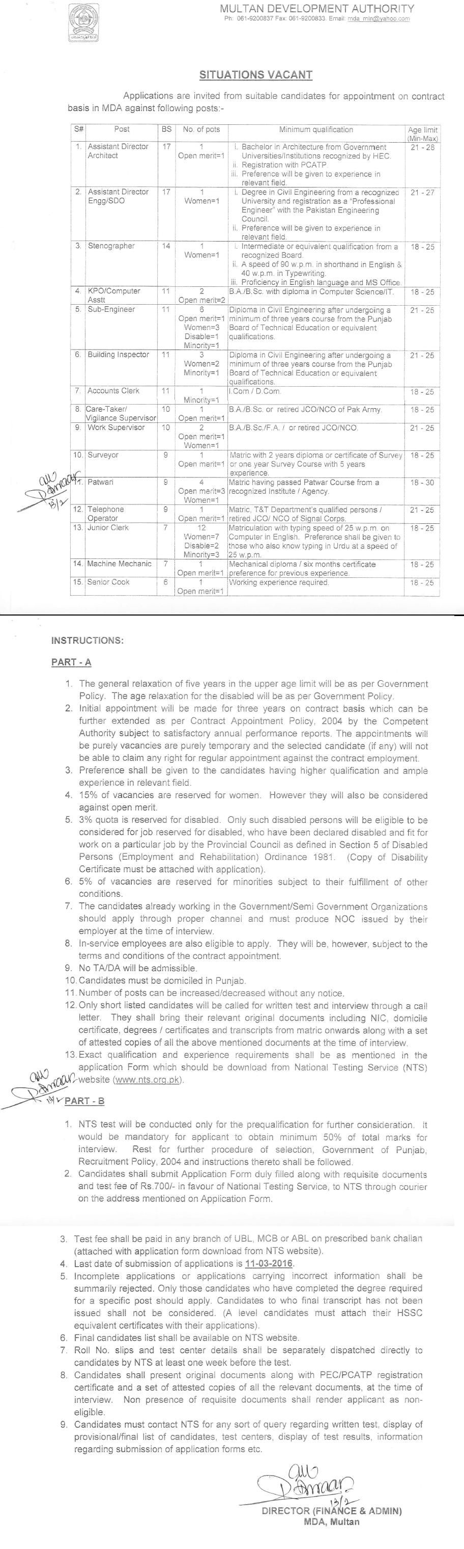 Multan Development Authority MDA Jobs 2016 NTS Application Form Last Date