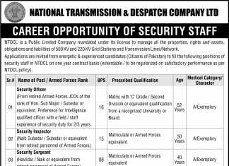 National Transmission & Despatch Company NTDC Jobs 2016 Security Staff